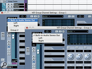 Cubase does not allow you to route from a Group channel to a destination Group that was created before it. Note that in the output selection for Group 1, I am able to select Group 2, but in the corresponding option for Group 2 I am unable to select Group 1. There is a similar issue with FX channels, where you cannot route the signal from a Group channel to an FX channel below it in Cubase's hierarchy.