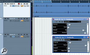 This screen capture shows Senderella in use in Cubase 4. Note the difference in settings on the two instances: one is set to send and one to receive, both on the same channel. Note also that the audio file is in Channel 1 while the level meters show the audio playing through Channel 3. Such flexible routing opens up a wealth of possibilities for Cubase users on Mac or PC.