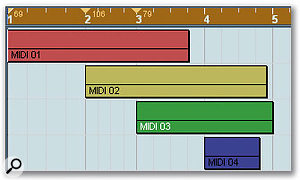 The Time Warp tool can be used to drag bar and beat lines to align events at specific time locations with a musical timebase.