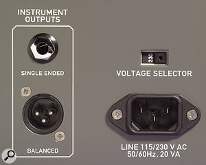 The S1 MkII's power supply is capable of running off different voltages, but the required one has to be set on the back panel manually. Note also the balanced XLR output on the left — another example of Cwejman not doing things by halves.
