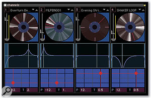The Channels window offers a number of easy ways to modify the playback of each loop with a click of the mouse.