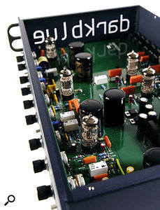 A peep inside reveals the tubes used in the Dark Blue. Unusually, the input stage is based around the ECC88 double triode, in order to keep front end noise to a minimum. This is followed by four ECC83 tubes.