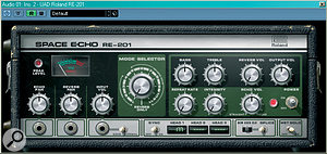 Tape-echo emulation plug-ins, like the Universal Audio RE201 Space Echo (left) can be used to create an impression of distance. If you don't have access to tape echo, you could try using a digital delay and rolling off the top end at about 4kHz, and the bottom end around 200Hz.