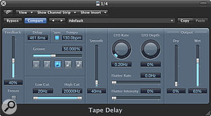 A simple quarter note delay in Logic Pro's Tape Delay plug-in.