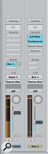 5. The setup in Logic for creating a ducking delay. I've used Logic's Compressor plug-in to provide the ducking but I could just as easily have used the included Noise Gate or Ducker plug-ins, shown bypassed.