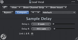 Using a plug-in like Logic's Sample Delay can create extra stereo width, but often at the expense of mono compatibility.