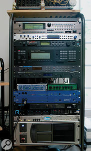 The main outboard rack in Nainita Desai's studio. From top: Roland XV5080 sound module, Presonus Central Station monitor controller, Emu Morpheus and Yamaha TG77 sound modules, Alesis Quadraverb effects, Emu Proteus 2/XR Orchestral sound module, RME ADI4 converter, Joemeek VC3Q preamp, Emagic Unitor8 and AMT8 MIDI interfaces, MOTU 24 I/O and 2408 Mk2 audio interfaces, Drawmer M-Clock master clock and Carillon custom PC.