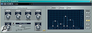 Band‑splitting distortion effects such as Craig Anderton's Quadrafuzz for Cubase (pictured) enable you to retain low‑end attack while still achieving the desired tone.