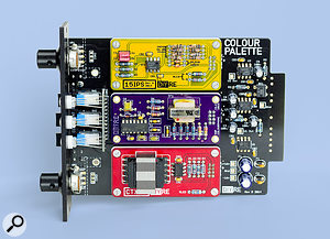 Three Colour modules — DIYRE's 15ips (top) and CTX (bottom), and XQP's Colourphone (middle) — fixed securely in place in the Palette 500-series module.