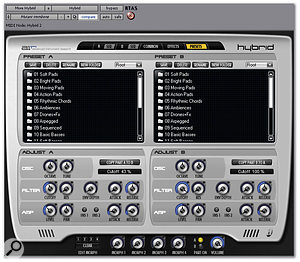Each instance of Hybrid actually contains two synths, and the plug-in's own preset library allows you to load two separate patches simultaneously.