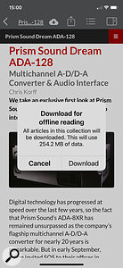 SOS App v13.1 on iPhone showing Download for Offline Reading popup