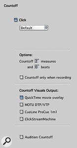 The count-off pane includes a setting that only provides a count-off during recording, so you don't have to keep manually enabling and disabling the count-off.