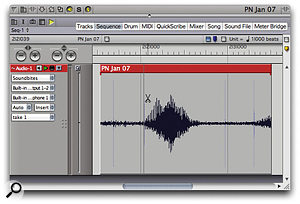 When you're working with beat-analysed audio, and with DP's Beat grid enabled -- note the blue tick-box towards the upper right of the window — Scissor tool cuts are constrained to audio beats. Here, a short vocal syllable is being cut on a detected beat, shown by very faint vertical lines superimposed on the waveform.