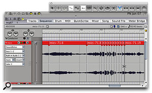 Here, a soundbite has received several cuts or splits using the Scissors tool, and now is being automatically sliced up into a series of segments, equal in length to the currently selected beat grid.