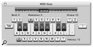 The Mac keyboard keys that MIDI Keys uses are superimposed on this screenshot.
