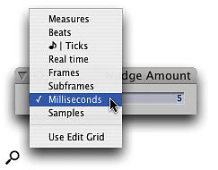 Nudge and the Nudge Amount window are your secret weapons for shunting around all kinds of audio and other sequence data, by amounts varying from a single sample to dozens of bars.