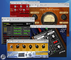 A veritable gaggle of Pro Tools plug-ins. DP 4.5 will work as a 'front-end' for Pro Tools systems, and then gets access to any TDM and RTAS plug-ins installed on your Mac. DP 4.5 can't run MAS or Audio Units plug-ins alongside them, though.