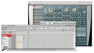 Loops in DP don't look all that exciting, but are hugely useful. Here the loop tool has been used to loop a two-measure MIDI drum pattern eight times.
