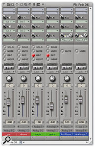 Working with DP and a zero-latency interface's mixing application. This is similar to the previous setup, but monitoring for the tracks being recorded is now set up in the CueMix Console shown opposite.