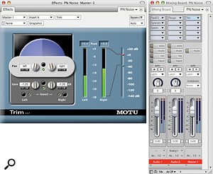 In terms of sound, DP handles internal 'overs' quite gracefully, but that's still no excuse for there to be any! Use a Trim plug‑in on a master fader and dial in a gain cut equal to or slightly greater than the indicated over (Peak) amount, as here, to fix an entire mix. A limiter plug‑in can also tame the overs, but with implications for sound quality and dynamic range.