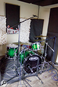 To provide a consistent reference point against which to assess the room options, the kit was miked with a stereo overhead plus close kick and snare mics.