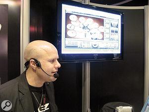 Matthias Eklund, Toontrack's Head of Sound Design, in demo-ing mode at 2008's Frankfurt Musikmesse.