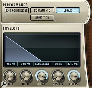 Play's Performance window houses controls for the sound engine's simulated legato and portamento modes. This legato is an alternative to the 'true legato', interval-specific patches included in all of EastWest's Hollywood series libraries. The Envelope window positioned directly below allows you adjust the release (decay) time of samples — useful for dealing with ringing harp notes!