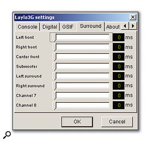 The Settings options include the channel delay screen for use with a surround monitoring system.