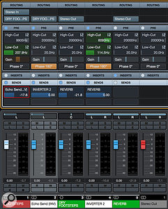 All the channels set up in Cubase 8.5 Pro. You can still use your reverb as a  regular aux-send effect — here, I've sent some of the Dry Footsteps group bus to the reverb directly, as well as the Footsteps source channel to the reverb via the Echo Mixture facility. I've also applied filtering to the second inverting channel, so that the sound becomes darker as it is made wetter.