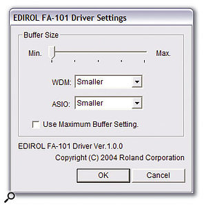 The FA101's software side is pretty minimal, with just a simple driver settings panel for adjusting the ASIO and WDM buffer size.