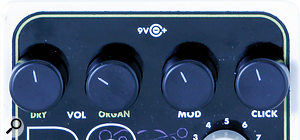 The user has separate control over guitar and organ output levels, as well as the degree of modulation and key click.