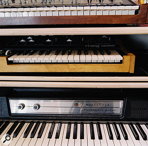 Some of Elizondo's many vintage keyboards: from top, Moog Opus 3 string machine, Moog Prodigy synth and Wurlitzer EP200 electric piano.