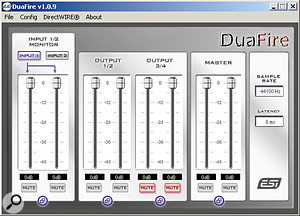 The Duafire's Control Panel software provides faders for all of the unit's inputs and outputs, and also allows users to set sample rate and determine latency.