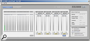 The ESU1808's Control Panel software allows you to monitor levels and perform basic routing operations.
