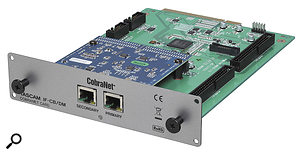 The first commercially viable audio-over-Ethernet systems were CobraNet (above) and EtherSound, as implemented here in expansion cards for Tascam and Yamaha digital mixers.