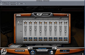The new visual mixer window makes it simple to balance the kit sound.