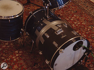 An unusual but effective approach to getting a great kick-drum sound, using a Shure SM57 inside a double-length drum.