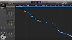 An example of an Assembly session in Logic Pro, taken from a  60-minute television drama with 27 music cues. The audio region at the top is the extracted sound from the movie file. If preferred, all the music cues could be imported to one track in Logic, but by importing them to separate tracks the relative levels of the cues can be easily adjusted with the track faders. Lining the cues up to the correct position is simply done by dragging them into Logic, Ctrl-clicking on the region (or multiple regions if importing several cues at once) and selecting Move to Original Recording Position, which will move the cues to the correct timecode location.
