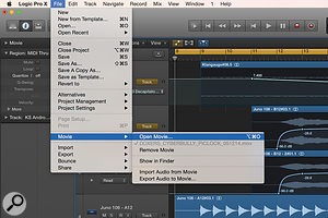 The Open Movie... function in Logic Pro can be found in the File / Movie menu, as can the Export Audio To Movie... function.
