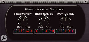 You can control how much modulation is applied to the cutoff, resonance and output level of the filter(s).