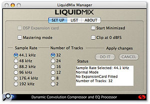 The Liquid Mix Manager software allows you to set the unit's sample rate, and also to specify the maximum number of channels of processing you wish to use, in case you want to conserve Firewire bandwidth.