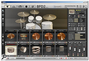 The main Kit page of BFD2 with a 10-piece kit loaded.