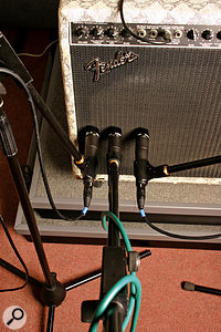 The speaker cone of a guitar amp will sound different when close-miked at the centre than when miked at the edge: it is worth experimenting to get the sound you want.