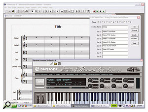 The bundled Overture SE software comes with a selection of templates, such as the String Section and Piano template shown here, which correspond to the templates supplied with GPO Studio to preload the correct sounds on each channel.