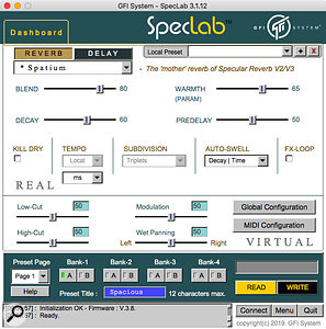 The SpecLab software not only makes editing easier than via the  hardware, but it also provides  access to more parameters and allows you to store additional presets.