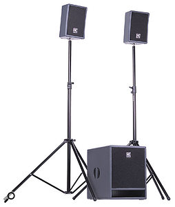 A compact active PA system with two-way satellite speakers and a separate subwoofer, such as the HK Audio LUCAS XT system shown here, is ideal for most small venues.