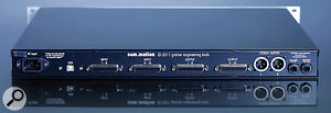 The rear panel caters for analogue I/O via DB25 D–sub connectors, and the USB port for remote control. The active stereo output is presented on balanced XLRs, while the unbalanced  TRS passive output and cascade input allow units to share a single mix bus.