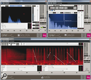 The Evolution Bundle plug‑ins in action. Here, the drum loop that is being fed through the Fusion plug‑in (opposite page) meets its doom at the hands of Evolution, before being modulated with asolo vocal in Grinder.
