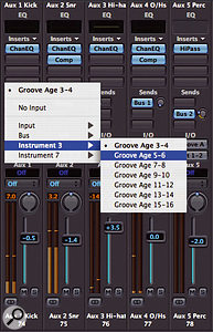 Selecting inputs to Aux objects from Groove Agent.