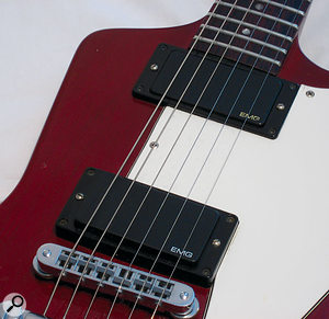 Active pickups, such as the EMG 81 and 85 shown on this guitar, get around the frequency response limitations inherent in passive designs. Whether this is a desirable difference is very much down to taste!